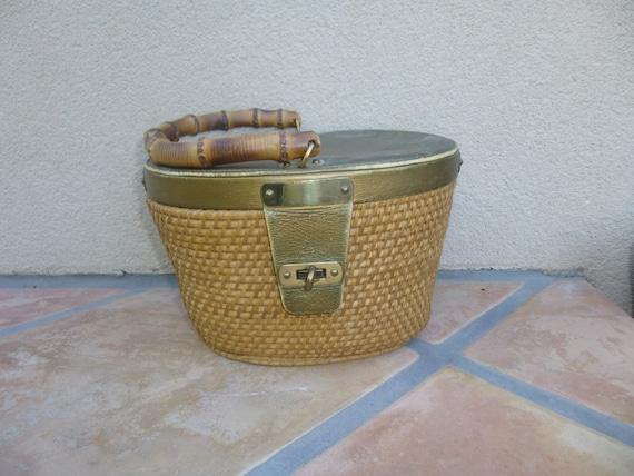 Vintage 1970's Basket Purse,Rattan Purse, 70s Weav
