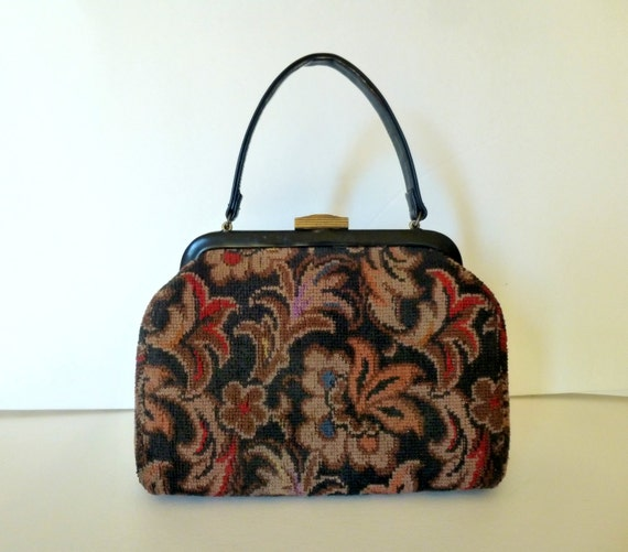 Vintage  Tapestry Purse,  50s Carpet Bag, 50s Blac
