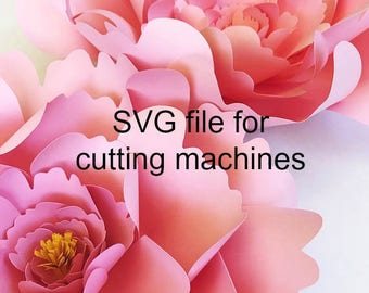 Large Peony Paper Flower Template SVG Cut File For Cutting Machines DIY Instant Download Art