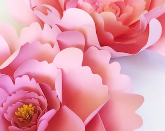 Large Peony Paper Flower Template Paper Flower Template Svg Etsy