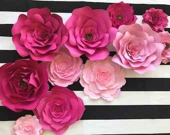Baby nursery wall decor paper flowers for girls nursery large paper flower backdrop for weddings showers and photo walls pink paper flower nursery decor kate spade inspired paper flower wall art mightylinksfo