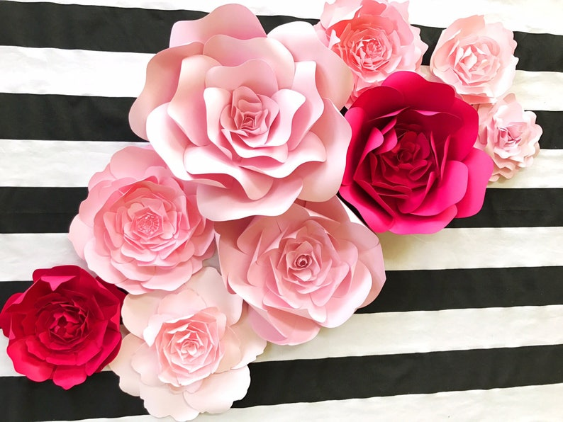 Paper Flower Nursery Crib Wall Art Large Paper Flower Backdrop For Weddings Showers Photo Walls Kate Spade Inspired Paper Flower Wall Art