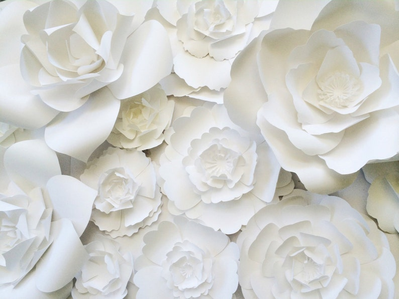 Paper Flower Wall Decor Large Paper Flower Wall Backdrop Giant Paper Flowers For Weddings Backdrops And Home Decor Paper Flower Wall Art