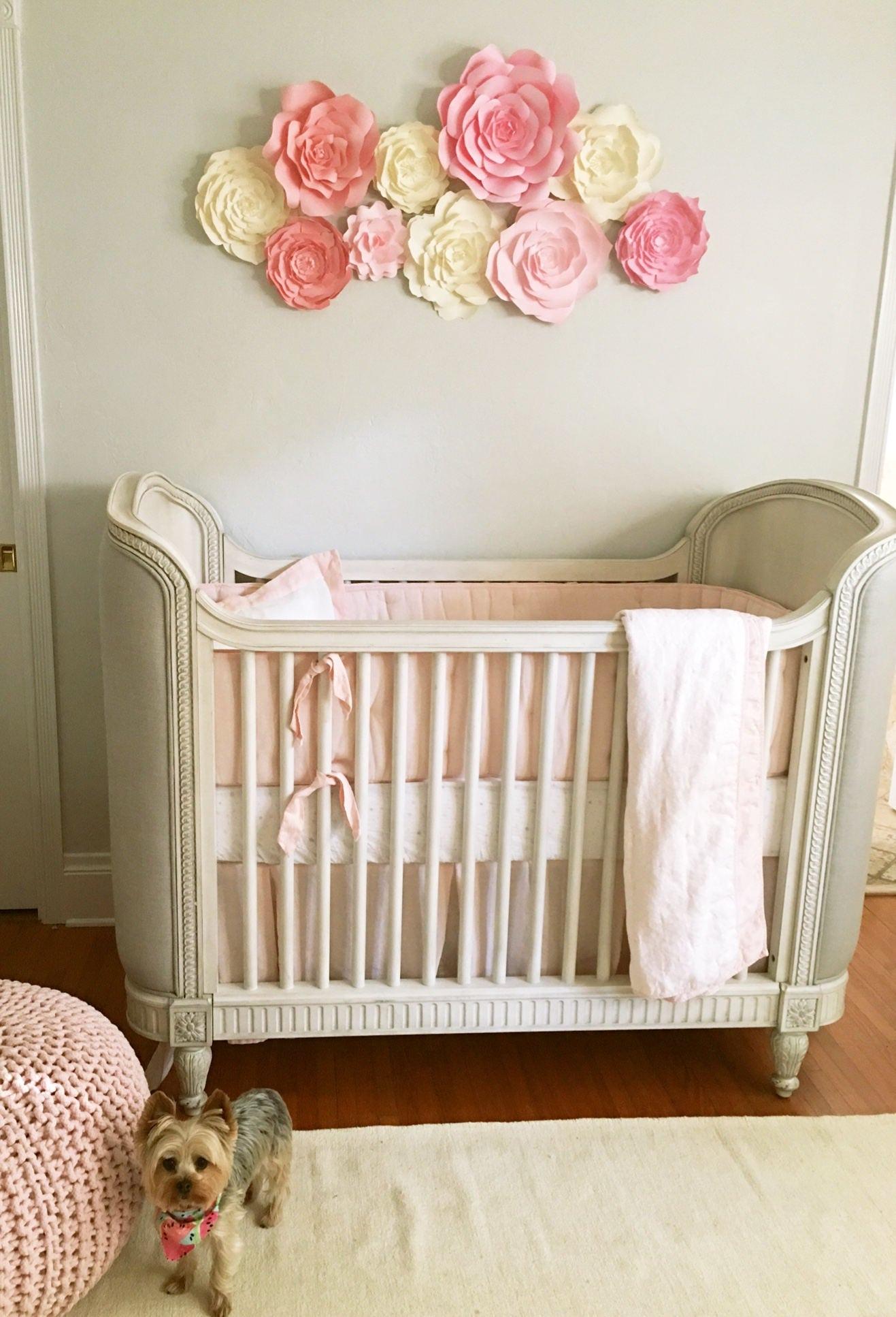 Curtains For Baby Girl Nursery: Baby Nursery Wall Decor Paper Flowers For Girls Nursery
