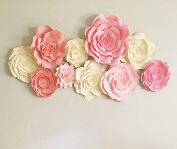 Baby nursery wall decor paper flowers for girls nursery | Etsy