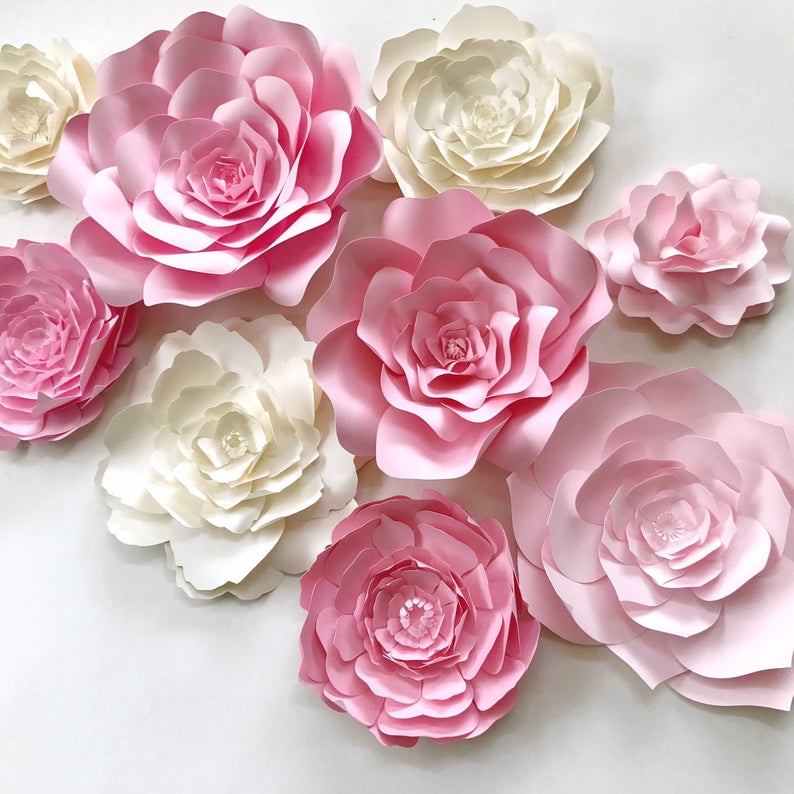 Pink Paper Flower Wall Decor Large Paper Flower Backdrop Nursery Wall Art Paper Flower Backdrop Girls Room Decor Nursery Decor