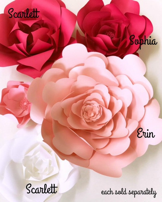 Diy Paper Flower Instructions Paper Flowers How To Templates Etsy