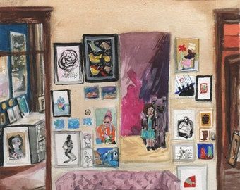 Pink Couch, Walrus Gallery Minneapolis - print of an original painting by Meg Corcoran