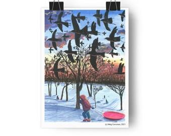 Radio Flyers - Crows at Dusk Giclée Art Print by Meg Corcoran