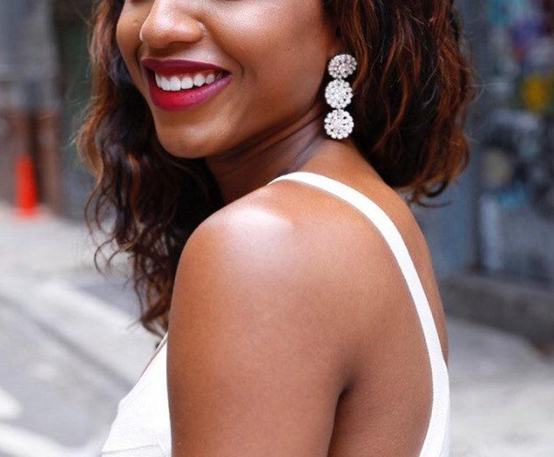 Crystal rhinestone glam dangle chandelier earrings image 0