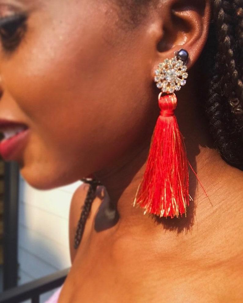 Red tassel rhinestone earrings image 0