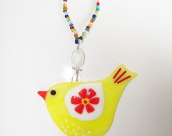 Red Bird of Happiness  Fused GLass Suncatcher  Ornament  Sun Catcher Play  Bright Fun  Cheerful  Happy Get WellWhimsical