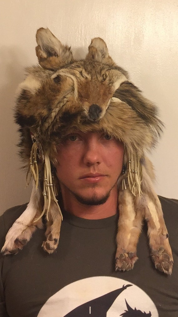 056b5e227 Native American beaded coyote coonskin hat Authentic Native American made