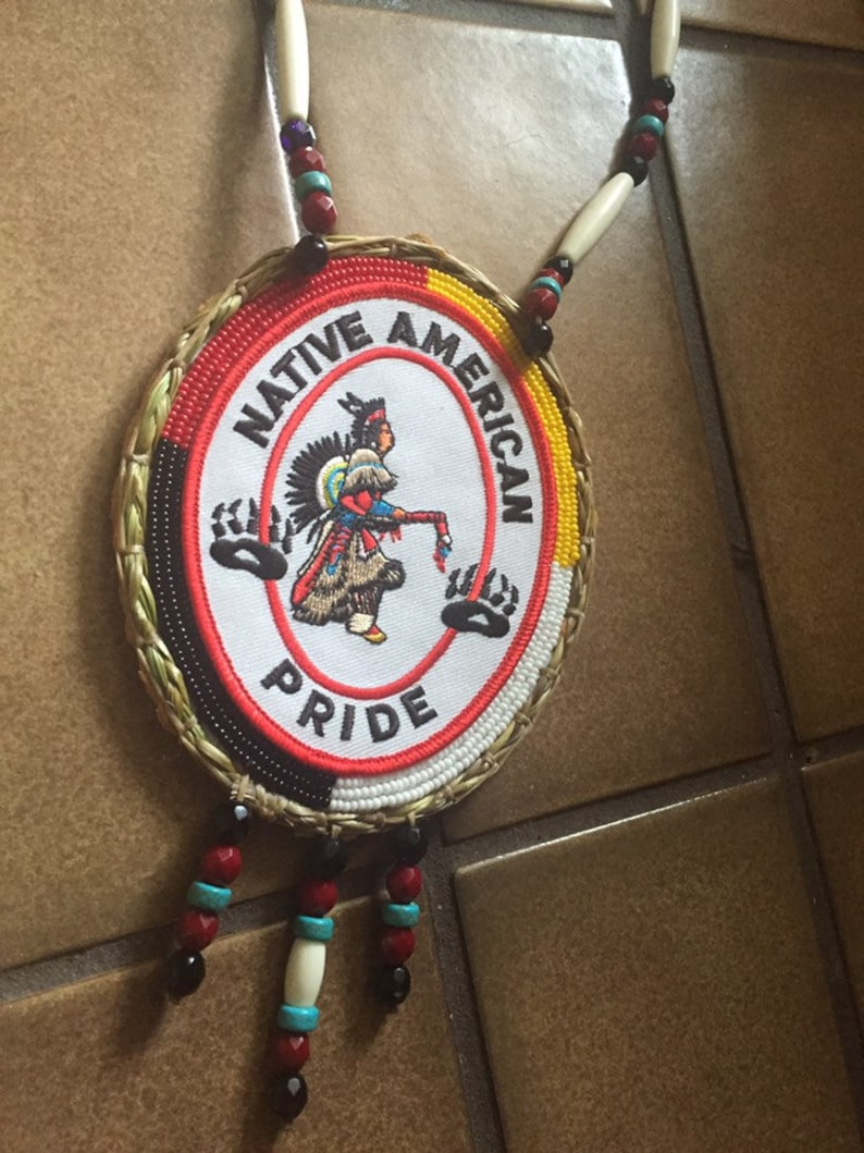 Native Pride medallion with sweetgrass border authentic Native American Beadwork