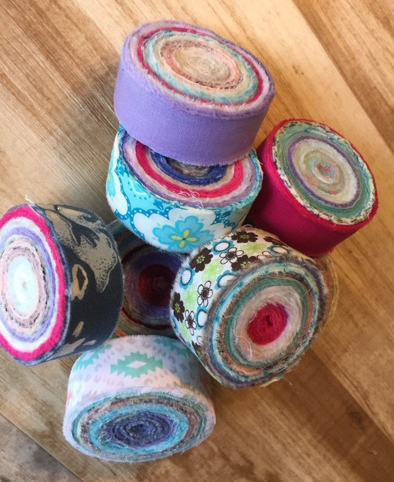 Rag Rug Fabric Strips 60 Yds Locker Hooking Toothbrush Rug Yarn Amish Knot Jelly Roll Material Precut Strips Banner Variety of Print /& Solid