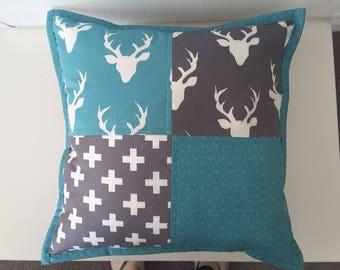 Woodland nusery cushion,  turquoise and grey
