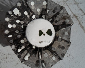 Jack Skellington - Nightmare before Christmas brooch - clip from black ribbon with white polka dots