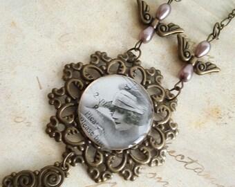 Vintage bronze necklace with filigree
