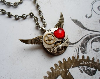 Steampunk winged necklace