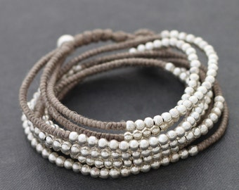 Silver Taupe Beaded Wrap Bracelet Necklace