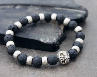 39b3f1df545a Lava Rock Beaded Bracelets Silver Chrome Charm Men Women