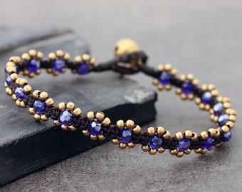 Flower midnight Blue Faceted Shimmer Bracelet