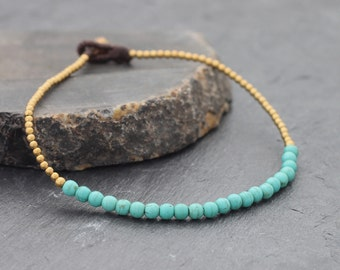 Turquoise Simple Minimal Anklet