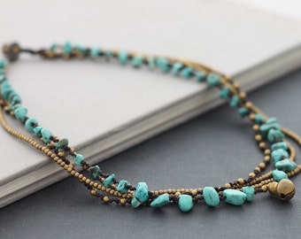 Beaded Necklaces Woven Turquoise Strand Layer Brass Chain