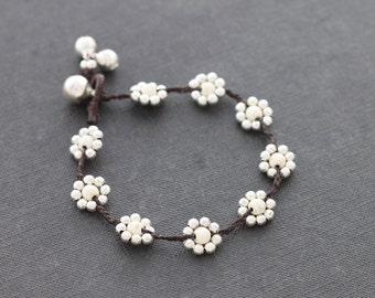 Daisy White Turquoise  Silver Bracelet