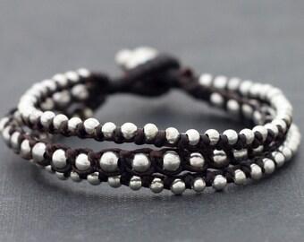 Silver Brown Rocker Bracelet