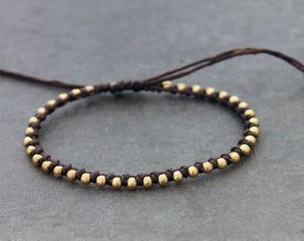 Beaded Woven Friendship Bracelets, Brown Brass Stud Simple Beads Adjustable Bracelets Men Women Unisex
