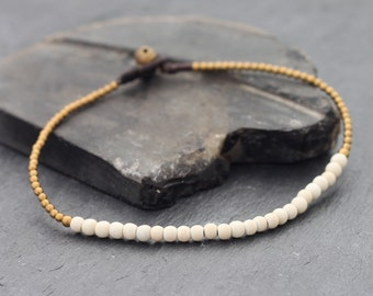 White Turquoise Simple Minimal Anklet