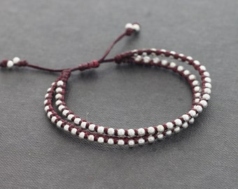 Silver Beaded Bracelets Double Strand Adjustable Bracelets Maroon Burgundy Stud Woven Adjustable Knotted Silver Bracelets
