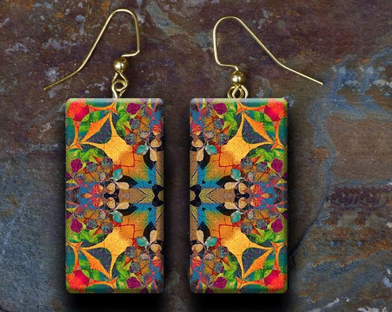 Moroccan tile polymer clay earrings