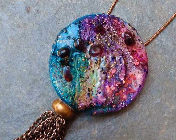 One-of-a-kind organic distressed polymer pendant