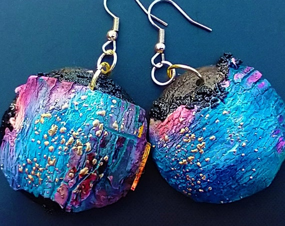 Distressed one-of-a-kind polymer clay earrings