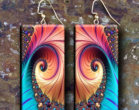 Fractals art polymer clay earrings