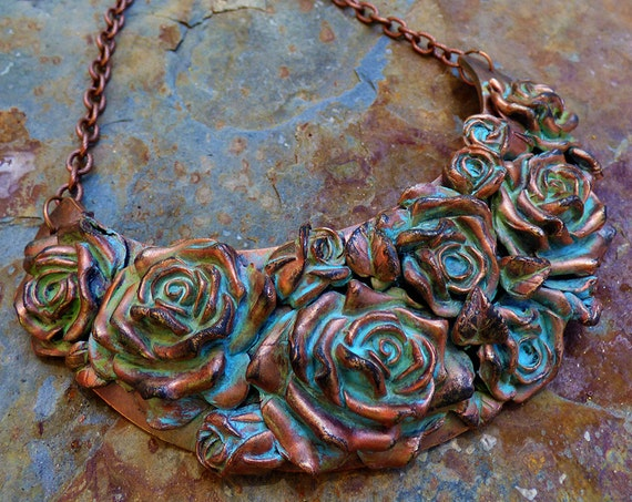 Distressed copper rose bouquet bib necklace