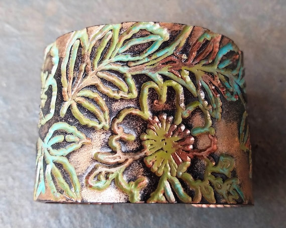 Flower distressed polymer clay cuff bracelet
