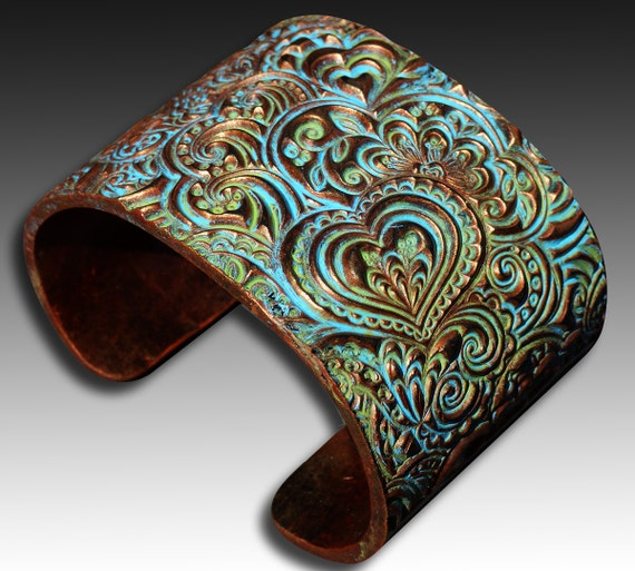 Hearts zentangle polymer clay cuff bracelet