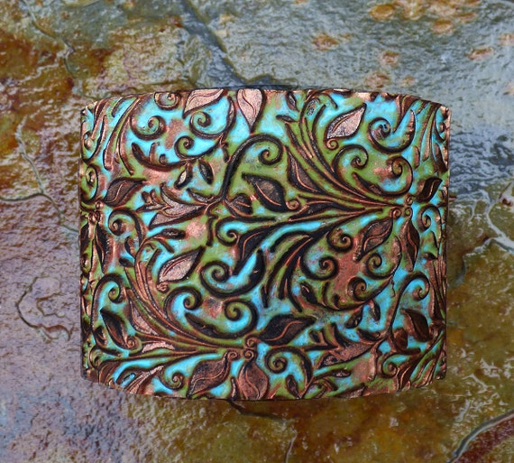 Distressed leaves and tendrils polymer clay cuff