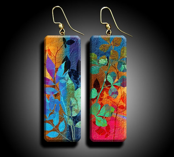 Abstract floral polymer clay earrings