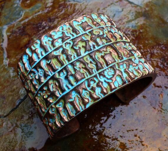 Primitive art polymer clay bracelet cuff