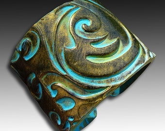Old gold and patina polymer clay cuff bracelet