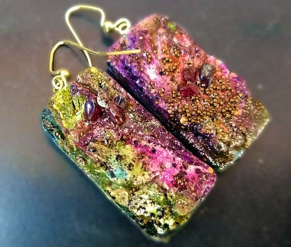 One-of-a-kind organic distressed earrings