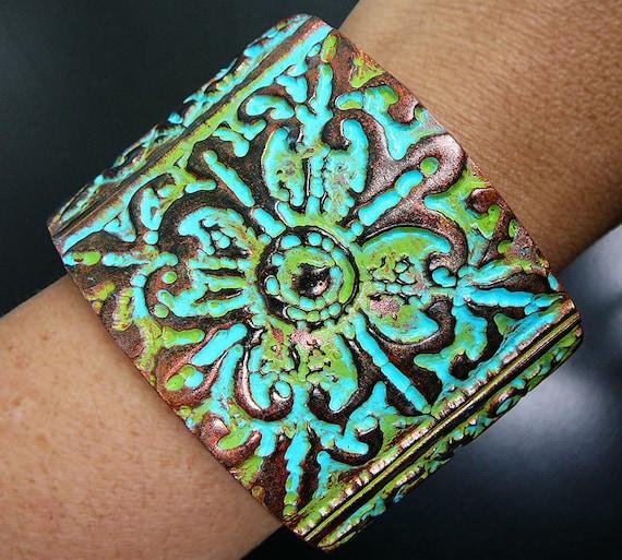 Medieval polymer clay cuff bracelet