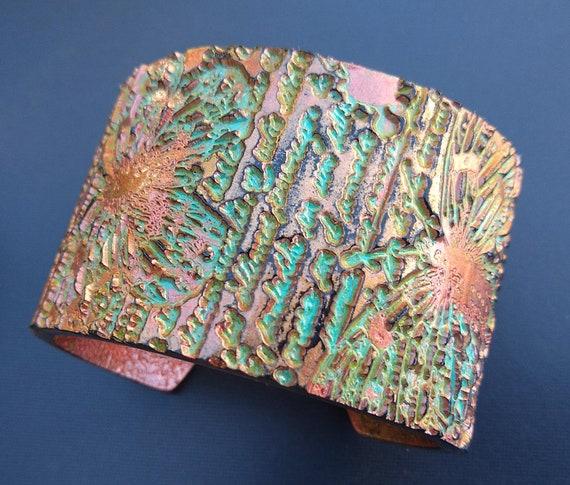 Butterflies script distressed polymer clay cuff bracelet