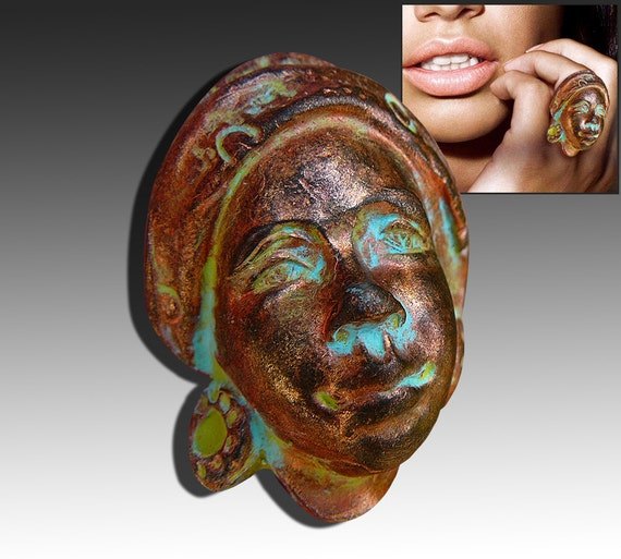 African woman polymer clay ring