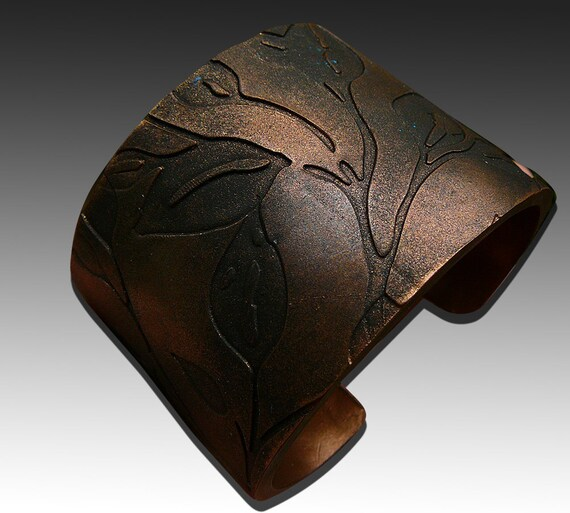 Leaves bronze and copper polymer cuff