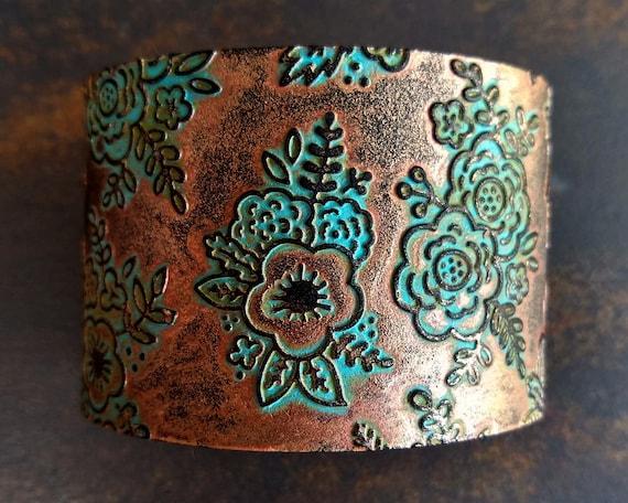 Flower bouquet polymer clay cuff bracelet